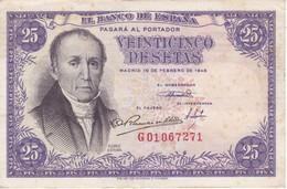 BILLETE DE ESPAÑA DE 25 PTAS DEL 19/02/1946 SERIE G  CALIDAD MBC (VF) (BANKNOTE) - 25 Pesetas