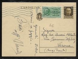 ESPRESSO DA PIEVE A VERONA - 25.1.1942. - 1900-44 Vittorio Emanuele III