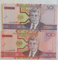 Lot De Deux Billets Du Turkménistan 50 Et 100 Manat 2005 Pick 17 Et 18 Neuf/UNC - Turkmenistan