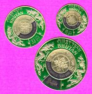 "BHUTAN 1968 Overprinted Embossed Gold Foil Stamps Set ""Human Rights Year 1968"" MNH Scott C98 - C98B Bhoutan - Bhutan"