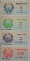 Lot De 4 Billets D'Ouzbekistan 1 à 10 Sum  1992 Pick 44 à 47 Neufs/UNC - Uzbekistan