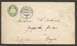 Switzerland - Stationery. 1895 (30 March). Chateau Dioex - Belgium, Bregue/ Brezee (31 March). 25c Green Stat Env. Lovel - Switzerland