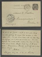 INDOCHINA. 1902 (10 Jan). Saigon - SMS Lertha - Germany, Berlin (10 Feb). 10c Black Sage Type Stat Card Cds. Fine Used. - Stamps