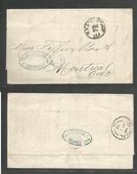 CUBA. 1871 (21 Dec). Cardenas - Canada, Montreal (7 Jan). EL Fwded At Havana By Niese Fuentes & Cº Blue Oval Cachet. Via - Non Classés
