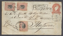 Brazil -Stationary. 1896 (19 Nov). Campinas - Itapira. 100rs Red Stat Reg Env 3 Adtls Mixed Issues, 400rs Rate. VF Scarc - Brazil