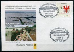 """Germany 1997 Sonderbeleg/Cover Hochwasserhilfe 1997 Mit Mi.Nr.1941 U..SST""""15320 Neuhardenberg-Hochwasserhilfe"""" 1 Beleg - Umweltschutz Und Klima"""