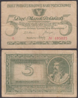 Poland 5 Marek 1919 (F) Condition Banknote P-20 - Polonia