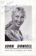 Handtekening Autographe - Joan Daniell - Vedette Music Hall - Théatre - Autographes