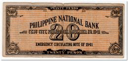 PHILIPPINES,EMERGENCY ISSUE,20 PESOS,1941 - Philippinen