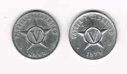 ) CUBA  2 X V CENTAVOS   1968/1972 - Cuba