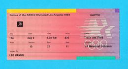 SUMMER OLYMPIC GAMES - LOS ANGELES 1984. ( Usa ) - Track And Field Official Ticket * Jeux Olympiques Billet - Apparel, Souvenirs & Other