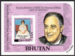 "BHUTAN 1968 Overprinted Stamps Souvenir Sheet ""Royal Baby 21.6.82"" On Princess Diana MNH Scott 363 IMPERF Imperforated - Bhutan"