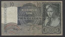 Netherlands 10 Gulden 9-6-1941 / 21-9-1942 NO 3 AQ 094655,  - See The 2 Scans For Condition.(Originalscan ) - [2] 1815-… : Kingdom Of The Netherlands