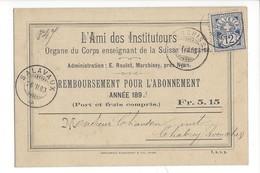 22036 - Marchissy L'Ami Des Instituteurs Abonnement 1893 Pour Chbrey Avenches + Cachet Salavaux 1893 - BE Bern
