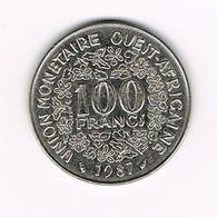 )  WEST AFRICAN STATES  100 FRANCS  1987 - Centrafricaine (République)