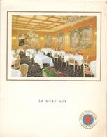 Menu 12° Ronde Franse Meesterkoks - La Mère Guy - Roger Roucou Lyon - Casino Kursaal Oostende 1964 - Menus