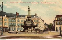 SAINT-QUENTIN  Fontaine Et Rue Paringault.  Place Lafayette.  Commerces   2 Scans  TBE - Saint Quentin