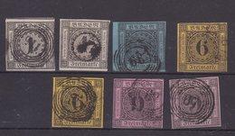 ALLEMAGNE : BADE . 7 EX . OBL . AB A B .1851/58 . - Baden