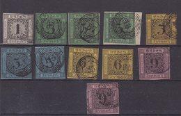 ALLEMAGNE : BADE : 11 EX . OBL . AB A B . 1851/58 . - Baden