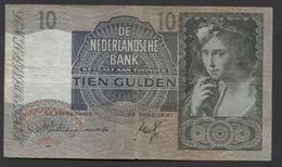 Netherlands 10 Gulden 9-6-1941 / 21-9-1942 NO 7 AH 012712,  - See The 2 Scans For Condition.(Originalscan ) - [2] 1815-… : Koninkrijk Der Verenigde Nederlanden