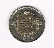)  TURKIJE  50 YERI KURUS 2011 - Turquie