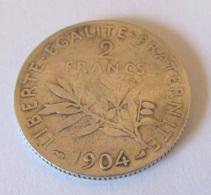 France - Monnaie 2 Francs Semeuse Roty 1904 En Argent - TB - I. 2 Francs