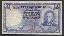 Netherlands 10 Gulden 7-5-1945 - 35.1a , No 2 AN 851730,  - See The 2 Scans For Condition.(Originalscan ) - [2] 1815-… : Koninkrijk Der Verenigde Nederlanden