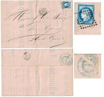 """1875 - GC ÉVIDÉ De TARBES Sur AFFICHE """" TAXE DES VIANDES BOUCHERIE """" + CACHET MAIRIE Pr VIC EN BIGORRE (HAUTES PYRENEES) - Marcophilie (Lettres)"""