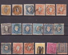 PORTUGAL : 18 EX . OBL . AB A TB . 1862/93 . - Oblitérés