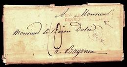 CP 8- LETTRE AVEC CURSIVE ROUGE BUREAU DES DÉPUTÉS + CAD BLEU + TAXE BLEUE 10 DECIMES + CAD ARRIVÉE -  4 SCANS - 1801-1848: Précurseurs XIX