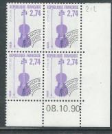 France Préoblitéré N° 212 XX Les Instruments De Musique: 2 F. 74 En Bloc De 4 Coin Daté Du 8 . 10 . 90 ;   Sans Ch. TB - Prematasellados