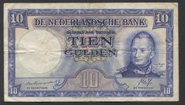 Netherlands 10 Gulden 7-5-1945 - 35.1b , No 2 AK 088991,  - See The 2 Scans For Condition.(Originalscan ) - [2] 1815-… : Koninkrijk Der Verenigde Nederlanden
