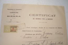BISKRA - ALGERIE  - CERTIFICAT  De Bonnes Vie & Moeurs ( Commune De BISKRA ) - Année 1939 - Other