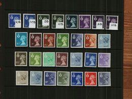 GREAT BRITAIN - QEII - 1971 - NORTHERN IRELAND - REGIONAL MACHINS - 26 Stamps - MNH - Unused Stamps