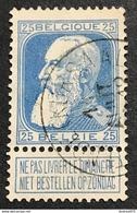 N. 76, 25 Cent Bleu, Obl. Ostende (Kursaal) 11/8/????, NIPA 80 - 1905 Breiter Bart