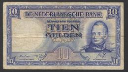 Netherlands 10 Gulden 7-5-1945 - 35.1b , No 3 AJ 508868,  - See The 2 Scans For Condition.(Originalscan ) - [2] 1815-… : Kingdom Of The Netherlands