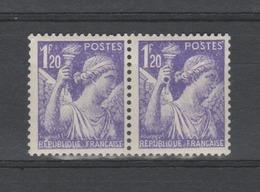 """FRANCE / 1944 / Y&T N° 651 ** : Iris 1F20 Variété """"à La Bague"""" Tàn - Gomme D'origine Intacte - Curiosities: 1941-44 Mint/hinged"""