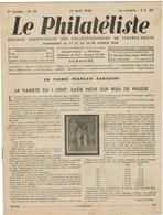 LE PHILATELISTE - Revue Bimensuelle N°22 - 1942  - 1 Cent Sage Noir Sur Bleu De Prusse - Boeken, Tijdschriften, Stripverhalen
