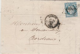 Yvert 60A Cérès  Lettre Entête Courneau Tanneur LANGON Gironde 21/10/1872 GC 1945 Pour Bordeaux - Marcophilie (Lettres)