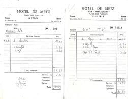 6 Facturettes / 55 ETAIN / Hôtel De Metz, De La Sirène, De La Gare / Pub  Martini, Bière Koemer - France