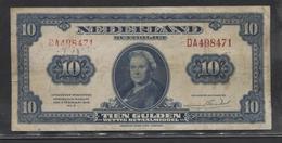 Netherlands 10 Gulden 4-2-1943 / 26- 9-1945 , No DA 498471,  - See The 2 Scans For Condition.(Originalscan ) - [2] 1815-… : Kingdom Of The Netherlands