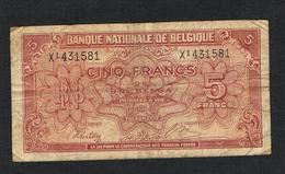 // BELGIE  5 FRANK  1 BELGA 01-02-1943 - [ 2] 1831-... : Royaume De Belgique