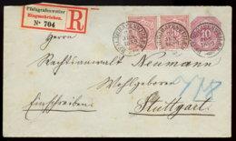 1889 PFALZGRAFENWEILER 10 Pfg GS-Bfh M. Zufr. Einschreiben N. Stuttgart - Ganzsachen