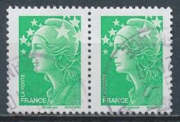 France - Marianne De Beaujard TVP Vert -YT 4229 Paire Horizontale Obl Cachet Rond - 2008-13 Marianne De Beaujard
