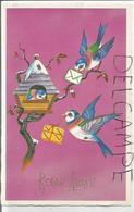 Bonne Année. Carte De Vœux. Deux Oiseaux Apportent Cadeau Et Lettre à Un Troisième Au Nichoir. - Nouvel An