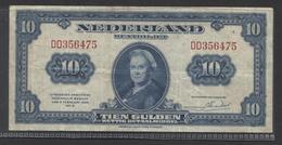 Netherlands 10 Gulden 4-2-1943 / 26 - 9-1945 , No DD 356475,  - See The 2 Scans For Condition.(Originalscan ) - [2] 1815-… : Koninkrijk Der Verenigde Nederlanden
