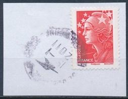 France - Marianne De Beaujard TVP Rouge -YT 4230 Obl Cachet Rond Sur Fragment - 2008-13 Marianne De Beaujard