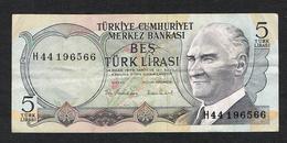 // TURKIJE  5 TURK LIRASI 1970 - Turquie