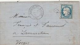 Yvert 60 Cérès Lettre Entête DESCAVES Chaudronnerie NOGENT Haute Marne13/9/1875 à Lamarche Vosges Bureau Passe 978 - Poststempel (Briefe)