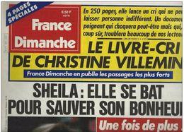France Dimanche N°2073 Sheila Elle Se Bat Pour Sauver Son Bonheur - Michèle Torr - Stéphane Collaro - Johnny Hallyday - People